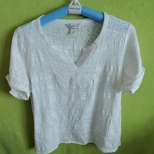 Cjbanks white lacy cotton tshirt